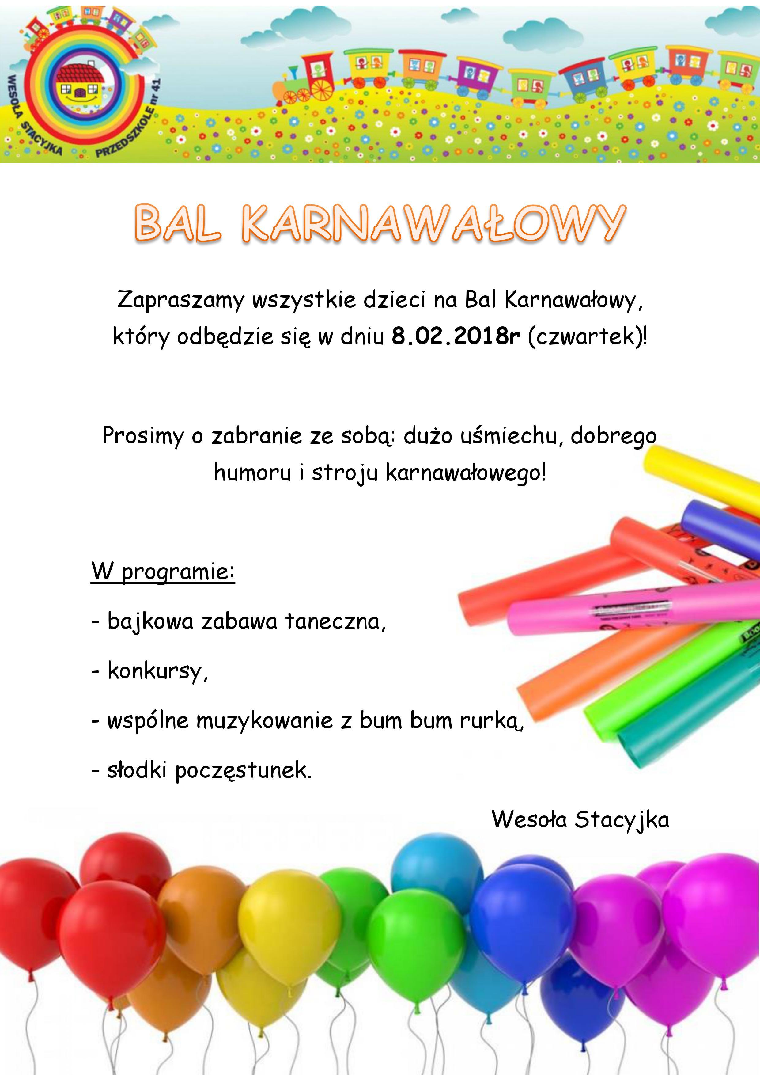Zaproszenie Na Bal Karnawałowy Zespół Szkolno Przedszkolny Nr 2 W